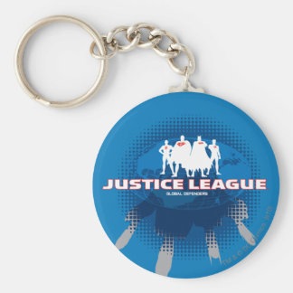 Justice League Global Defenders Basic Round Button Keychain