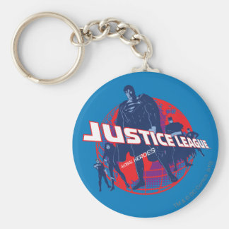 Justice League Global Heroes and Globe Basic Round Button Keychain
