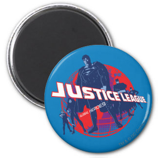 Justice League Global Heroes and Globe 2 Inch Round Magnet