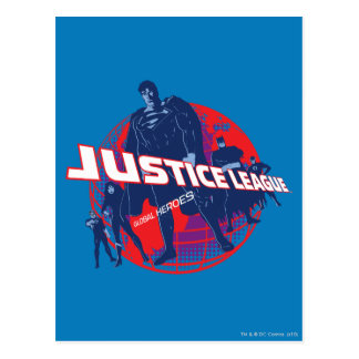 Justice League Global Heroes  and Globe Postcard
