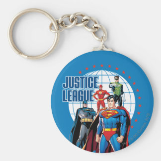 Justice League Global Heroes Basic Round Button Keychain