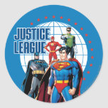 Justice League Global Heroes Classic Round Sticker