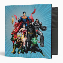 justice league new 52, jl new52, superman, wonder woman, aquaman, flash, cyborg, darkseid, batman, green lantern, dc comics, comic book covers, super heroes, Binder with custom graphic design