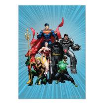 superman, wonder woman, aquaman, flash, batman, green lantern, kids, party, birthday, invitations, justice league new 52, jl new52, cyborg, darkseid, dc comics, comic book covers, super heroes, Invitation with custom graphic design