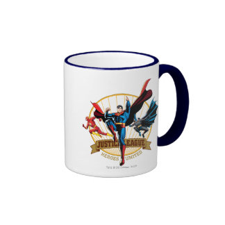 Justice League Heroes United Ringer Coffee Mug