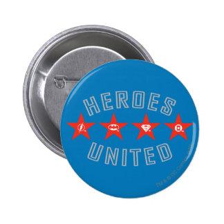Justice League Heroes Untied Logos Button