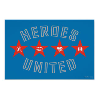 Justice League Heroes Untied Logos Poster