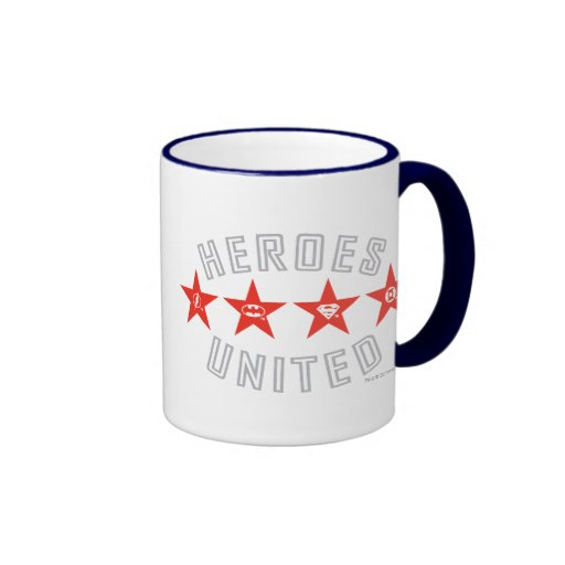 Justice League Heroes Untied Logos Ringer Coffee Mug