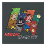 """Justice League """"Heroic Holidays!"""" Faux Canvas Print"""