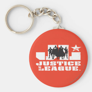 Justice League Logo and Character Silhouettes Basic Round Button Keychain