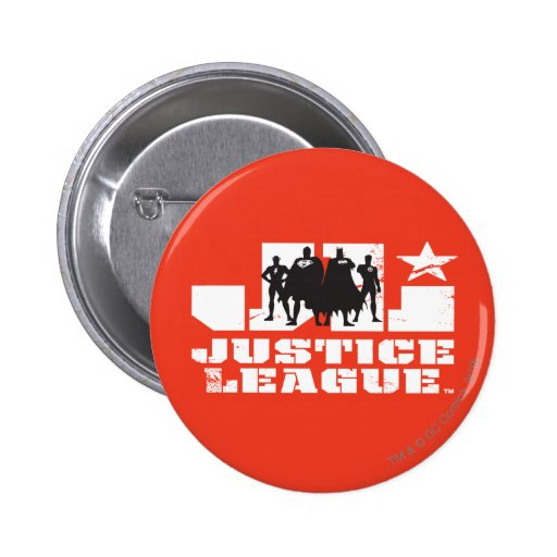 Justice League Logo and Character Silhouettes Pinback Button