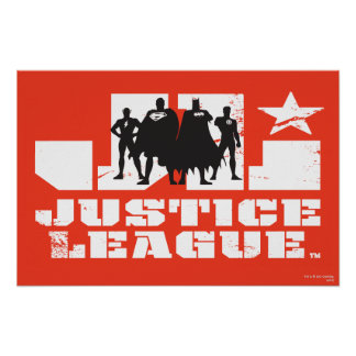Justice League Logo and Character Silhouettes Poster
