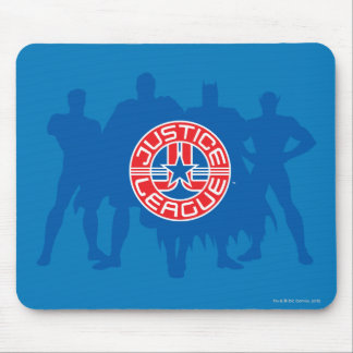 Justice League Logo and Solid Character Background Mousepad