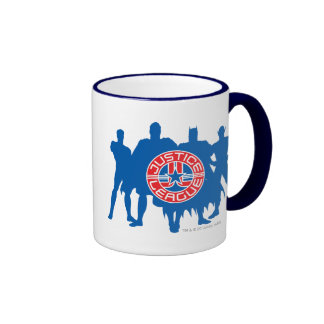 Justice League Logo and Solid Character Background Ringer Mug