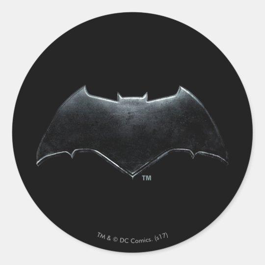 Justice League Metallic Batman Symbol Classic Round Sticker