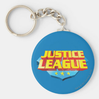 Justice League Name and Shield Logo Basic Round Button Keychain
