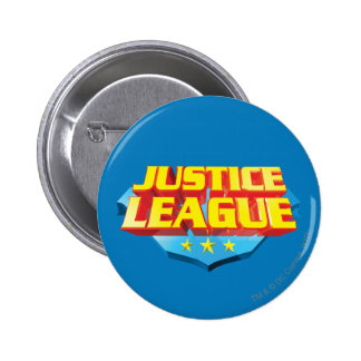 Justice League Name and Shield Logo Pinback Button