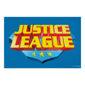Justice League Name and Shield Logo Print