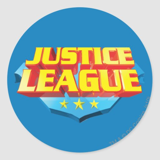 Justice League Name and Shield Logo Classic Round Sticker ...
