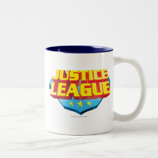 Justice League Name and Shield Logo Two-Tone Coffee Mug
