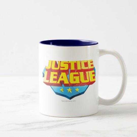 Justice League Name and Shield Logo Two-Tone Coffee Mug