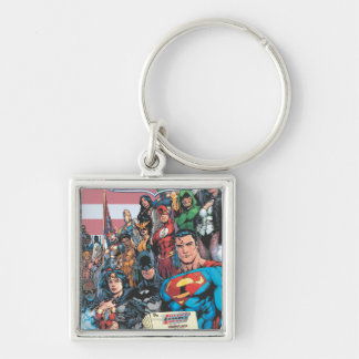 Justice League of America First Issue Silver-Colored Square Keychain