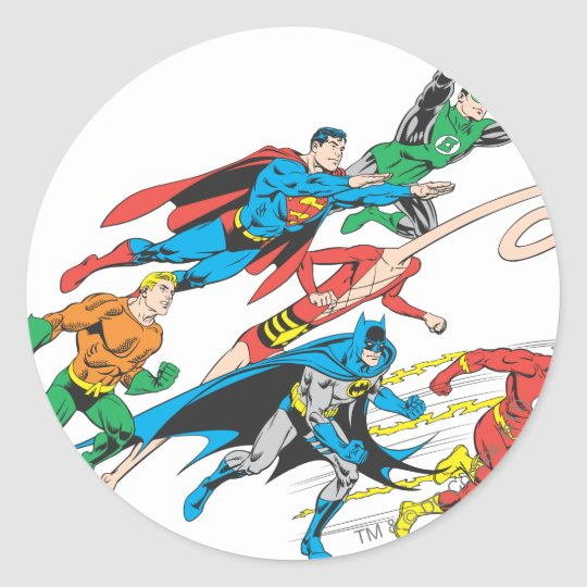 Justice League of America Group 5 Classic Round Sticker