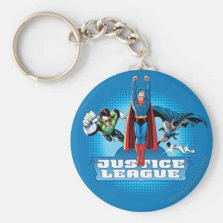 Justice League Power Trio Basic Round Button Keychain