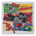"""Justice League """"Save the Holidays!"""" Faux Canvas Print"""