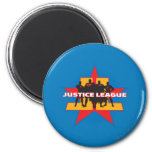 Justice League Silhouettes and Star Background 2 Inch Round Magnet