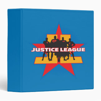 Justice League Silhouettes and Star Background 3 Ring Binder