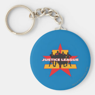 Justice League Silhouettes and Star Background Basic Round Button Keychain