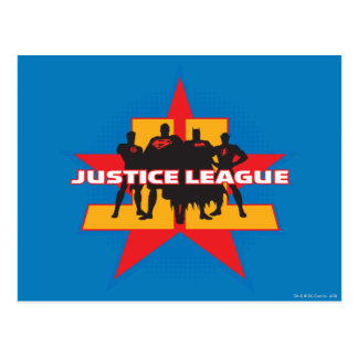 Justice League Silhouettes and Star Background Postcard