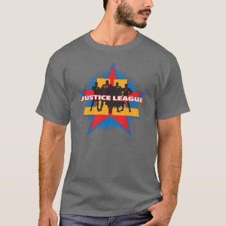 Justice League Silhouettes and Star Background T-Shirt
