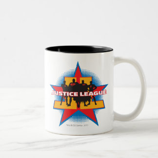 Justice League Silhouettes and Star Background Two-Tone Coffee Mug