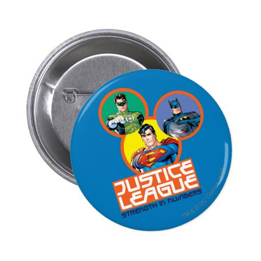 """Justice League """"Strength in Numbers"""" Pinback Buttons"""