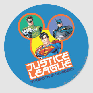 """Justice League """"Strength in Numbers"""" Classic Round Sticker"""
