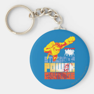 Justice League Strength. Power. Courage. Character Keychain