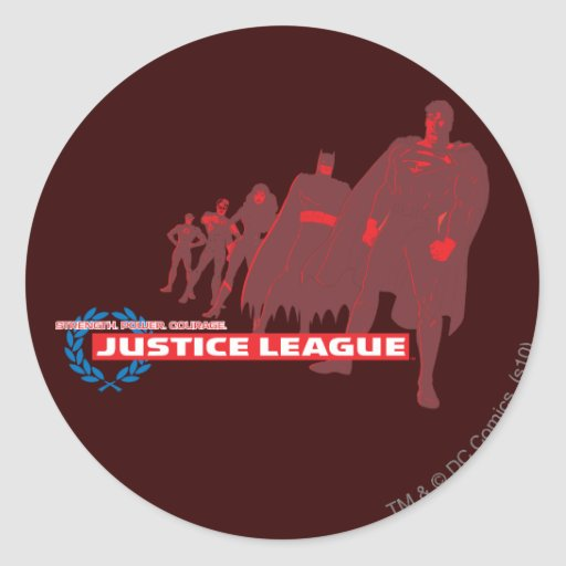 Justice League Strength. Power. Courage. Ensemble Classic Round Sticker