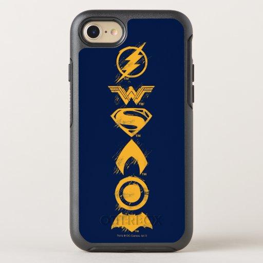 Justice League | Stylized Team Symbols Lineup OtterBox Symmetry iPhone SE/8/7 Case