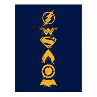 Justice League   Stylized Team Symbols Lineup Postcard