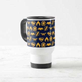 Justice League   Stylized Team Symbols Lineup Travel Mug