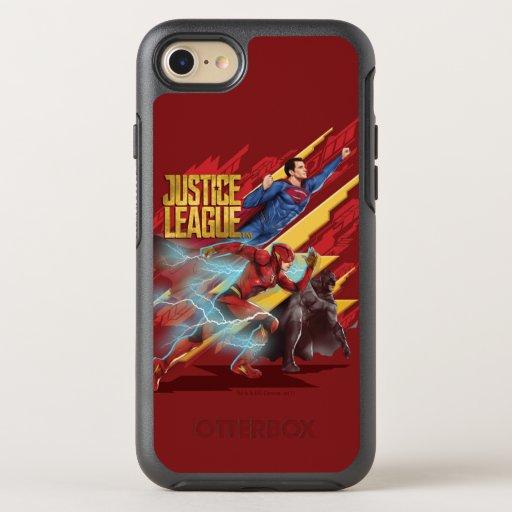 Justice League | Superman, Flash, & Batman Badge OtterBox Symmetry iPhone SE/8/7 Case
