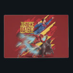 "Justice League | Superman, Flash, &amp; Batman Badge Placemat<br><div class=""desc"">This high tech badge features Justice League&#39;s Superman, The Flash, and Batman rushing off to the right with a golden Justice League logo in the upper left. Red and gold futuristic panels are placed behind and around our heroes, while The Flash is forefront running at an incredible speed that generates...</div>"