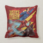 Justice League | Superman, Flash, & Batman Badge Throw Pillow