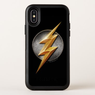Justice League   The Flash Metallic Bolt Symbol OtterBox Symmetry iPhone X Case