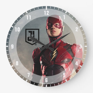 Justice League | The Flash On Battlefield Large Clock