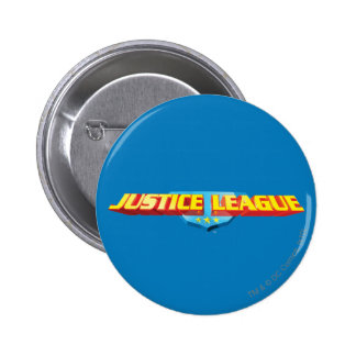 Justice League Thin Name and Shield Logo 2 Inch Round Button