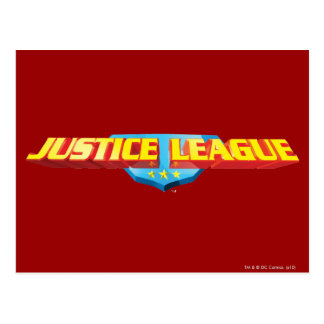 Justice League Thin Name and Shield Logo Post Card