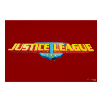 Justice League Thin Name and Shield Logo Poster